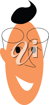 An elongated face of a man smilling with his circular spectacles vector color drawing or illustration