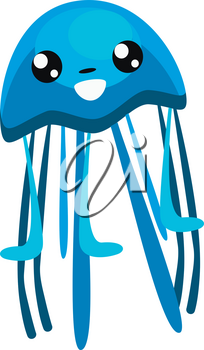 Jelly fish with lots of tentacles in blue color clipart vector color drawing or illustration