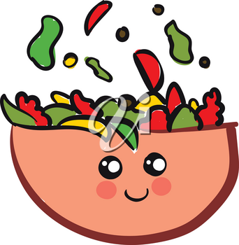 Cute smiling pink salad bowl with colorful salad vector illustration on white background