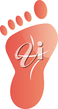 Pink footprint vector illustration on a white background