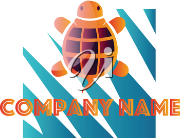 Orange and purple turtle in front of blue and white square vector logo design on a white background