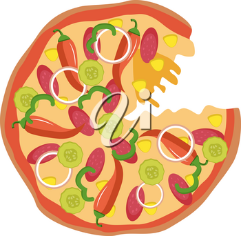 Spicy pizza illustration vector on white background