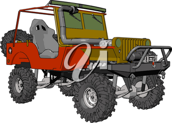 Dark green and red sand buggy with grey tiers vector illustration on white background