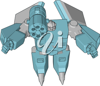 Grey and blue robot vector illustration  white background