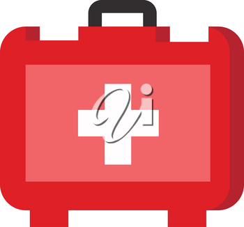 Red color emergency first aid box with a white color plus sign and a black handle containing emergency medication and first aid tools vector color drawing or illustration
