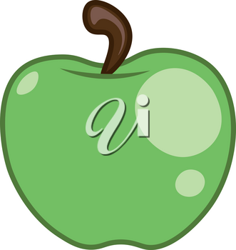 A large ripe juicy green apple hanging from a tree vector color drawing or illustration