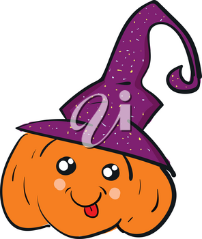 A cute orange pumpkin wearing a purple witch's hat vector color drawing or illustration