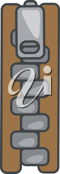 Brown zipper with grey slider and tape with a zig-zag arrangement of teeth vector color drawing or illustration