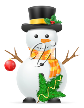christmas snowman stock vector illustration isolated on white background