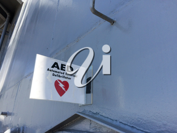 AED automated external defibrillator emergency cardiac heart attack sign on USS Iowa naval warship destroyer battleship