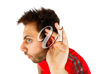 Young boy with hearing on white background
