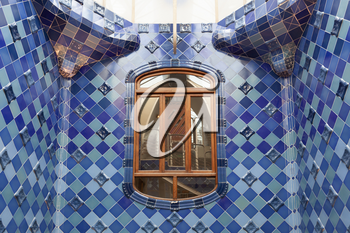 Barcelona, Spain - 30 July 2020: Casa Batllo atrium with inner windows