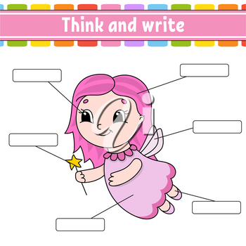 Young fairy. Think and write. Body part. Learning words. Education worksheet. Activity page for study English. Isolated vector illustration. Cartoon style.