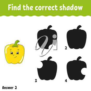 Find the correct shadow pepper. Education developing worksheet. Matching game for kids. Activity page. Puzzle for children. Cartoon character. Isolated vector illustration.
