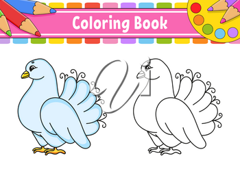 Coloring book for kids. Wedding white pigeon. Cartoon character. Vector illustration. Black contour silhouette. Isolated on white background.