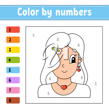 Color by numbers. Beautiful girl. Activity worksheet. Game for children. Cartoon character. Vector illustration.