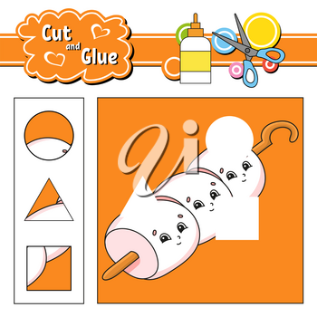 Cut and glue. Game for kids. Education developing worksheet. Cartoon character. Color activity page. Hand drawn. Isolated vector illustration.