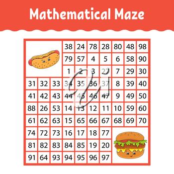 Mathematical square maze. Game for kids. Number labyrinth. Education worksheet. Activity page. Puzzle for children. Cartoon characters. Color vector illustration.