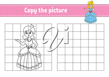 Copy the picture. Coloring book pages for kids. Education developing worksheet. Game for children. Handwriting practice. Cartoon character.