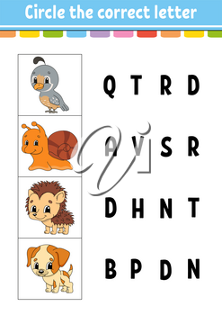 Circle the correct letter. Education developing worksheet. Learning game for kids. Color activity page. Cartoon character.
