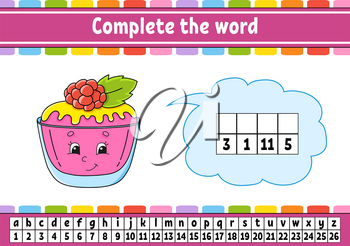 Complete the words. Cipher code. Learning vocabulary and numbers. Education worksheet. Activity page for study English. Isolated vector illustration. Cartoon character.