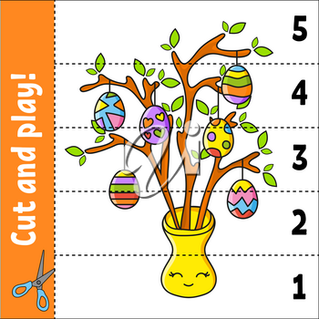 Learning numbers 1-5. Cut and play. Education worksheet. Game for kids. Color activity page. Puzzle for children. Riddle for preschool. Vector illustration. Cartoon style.