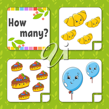Counting game for children. Happy characters. Learning mathematics. How many object in the picture. Education worksheet. With space for answers. Isolated vector illustration in cute cartoon style.