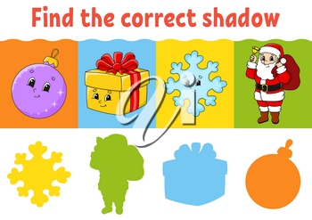 Find the correct shadow. Education worksheet. Matching game for kids. Color activity page. Puzzle for children. Cartoon character. Isolated vector illustration.