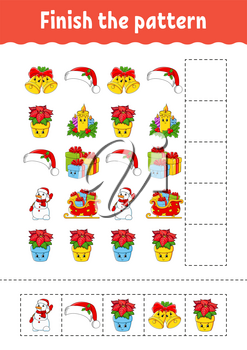 Finish the pattern. Cut and play. Christmas theme. Education developing worksheet. Activity page. Cartoon character.