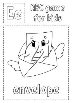 Letter E is for envelope. ABC game for kids. Alphabet coloring page. Cartoon character. Word and letter. Vector illustration.