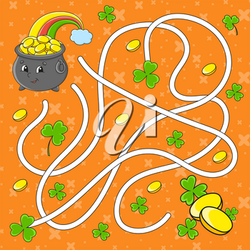 Maze. Game for kids. Labyrinth conundrum. Education developing worksheet. Puzzle for children. Activity page. Cartoon character. Color vector illustration. St. Patrick's day.