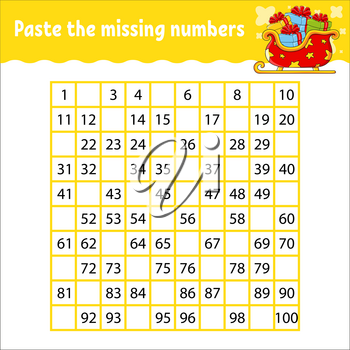 Paste the missing numbers from 1 to 100. Handwriting practice. Learning numbers for kids. Education developing worksheet. Activity page. Game for children. Isolated vector illustration.