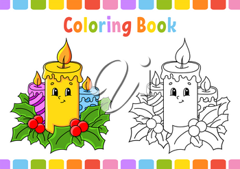 Coloring book for kids. Christmas candles. Cartoon character. Vector illustration. Fantasy page for children. Black contour silhouette. Isolated on white background.