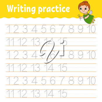 Trace and write. Number 1-15. Handwriting practice. Learning numbers for kids. Activity worksheet. Cartoon character.