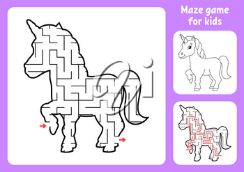 Abstract maze. Magical unicorn. Game for kids. Puzzle for children. Labyrinth conundrum. Find the right path. Education worksheet. With answer.