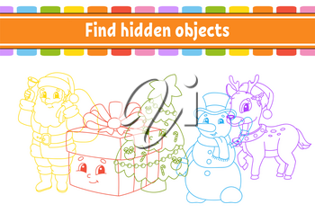 Find hidden object. Education developing worksheet. Activity page with pictures. Color contour. Logical thinking training. Isolated vector illustration. Funny character. Cartoon style.