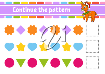 Continue the pattern. Education developing worksheet. Game for kids. Activity page. Puzzle for children. Riddle for preschool. Flat isolated vector illustration. Cute cartoon style.