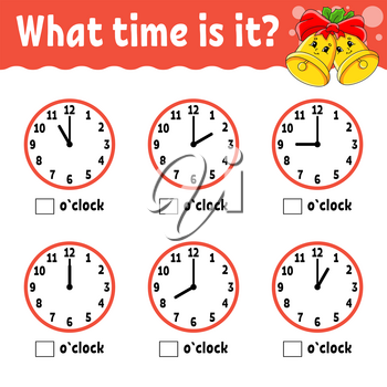Learning time on the clock. Winter theme. Educational activity worksheet for kids and toddlers. Game for children. Simple flat isolated color vector illustration in cute cartoon style.