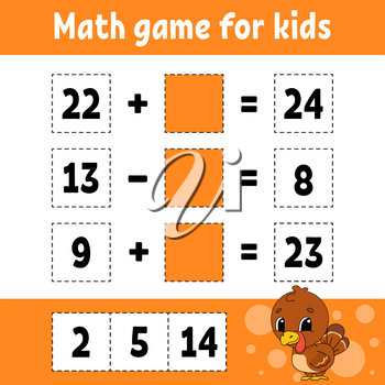 Math game for kids. Education developing worksheet. Activity page with pictures. Game for children. Color isolated vector illustration. Funny character. Cartoon style.