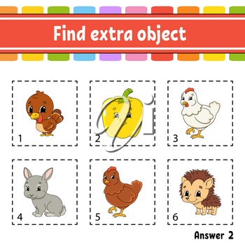 Find extra object. Educational activity worksheet for kids and toddlers. Game for children. Happy characters. Simple flat color isolated vector illustration in cute cartoon style.