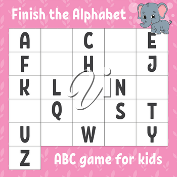 Finish the alphabet. ABC game for kids. Education developing worksheet. Grey elephant. Learning game for kids. Color activity page.