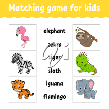 Matching game for kids. Find the correct answer. Draw a line. Learning words. Activity worksheet. Cartoon character. Cute animal.