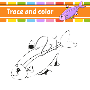 Trace and color. Fish. Coloring page for kids. Handwriting practice. Education developing worksheet. Activity page. Game for toddler and preschoolers. Isolated vector illustration. Cartoon style.