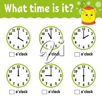 Learning time on the clock. Kitchen kettle. Educational activity worksheet for kids and toddlers. Game for children. Simple flat isolated color vector illustration in cute cartoon style.