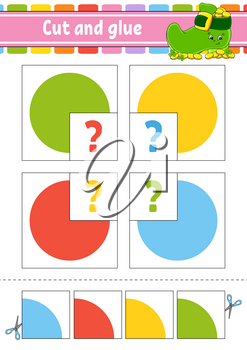 Cut and glue. Set flash cards. Education worksheet. Activity page. Circle. Game for children. Cartoon character. Isolated vector illustration.