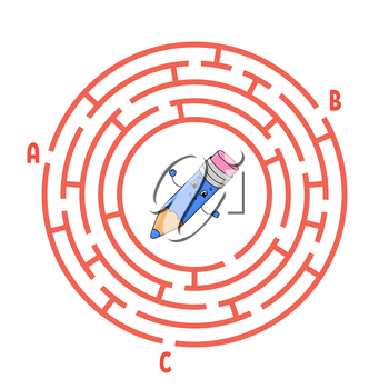 Circle maze. Game for kids. Puzzle for children. Round labyrinth conundrum. Color vector illustration. Find the right path. The development of logical and spatial thinking. Education worksheet.