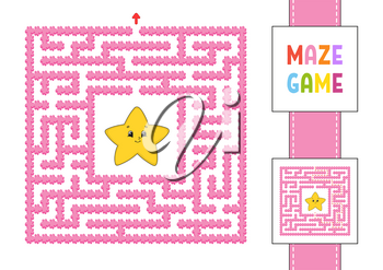 Funny square maze. Game for kids. Puzzle for children. Cartoon style. Labyrinth conundrum with character. Color vector illustration. Find the right path. With answer.