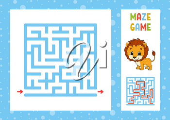 Funny maze. Game for kids. Puzzle for children. Happy character. Labyrinth conundrum. Color vector illustration. Find the right path. With answer. Isolated vector illustration. Cartoon style.