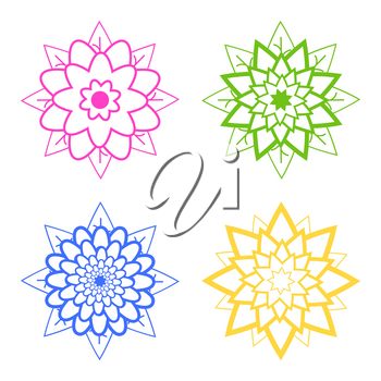 Set of four abstract silhouettes of flowers of blue, pink, green, yellow.