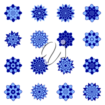 A set of beautiful flowers of blue and dark blue. Isolated on white background. Suitable for design.